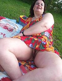 fat mature posing outside