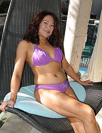 52 year old Renee Black spreading her legs on the backyard deck