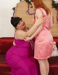 Naughty mature BBW having fun with a lesbian teen