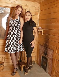 Two mature lesbians fisting eachother at the sauna