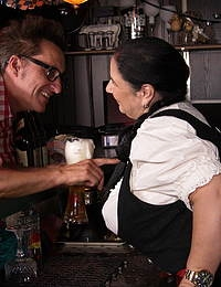 Big breasted German Waitress serving beer and giving head