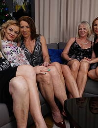 Five naughty mature ladies seducing their private waiter
