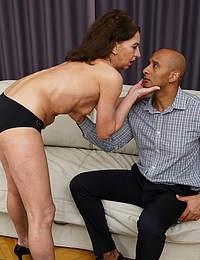 Naughty mature slut getting a big black surprise
