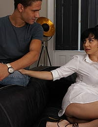 Hot steamy mom playing with her toy boy