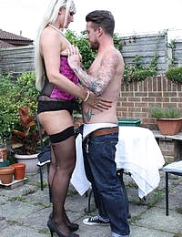Tall British housewife having fun with her younger lover