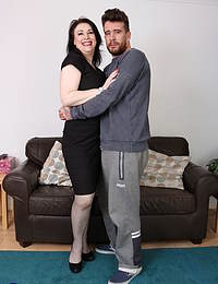 Big breasted British housewife playing with her toyboy