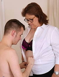 British chubby mature lady playing with her toy boy