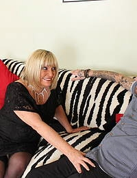Chubby British mature lady doing her younger lover