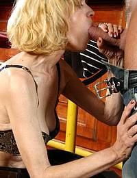 Horny granny sucking and fucking a fisty strapping lad