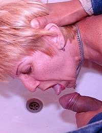 getting her face full of cum and piss