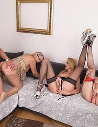 Three horny mature sluts share one lucky toyboy