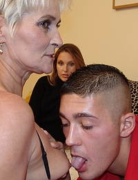 Naughty mature slut gets fusted and fucked by a hot young couple