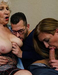 Hairy granny and mature slut share one hard throbbing cock