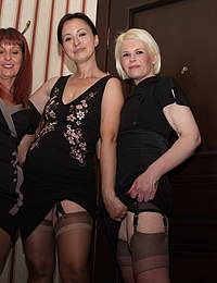Three hot mature ladies share their pussies