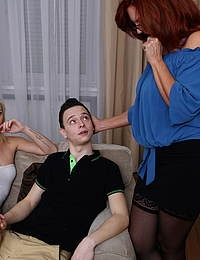 Hot MILF catching her stepson with his girlfriend and joins in