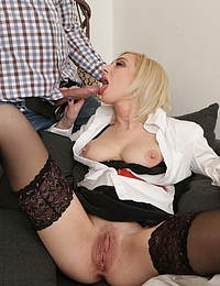 Hot blonde MILF having fun with a guy way younger than her