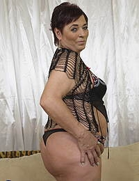 Horny unshaved housewife playing with her toy boy
