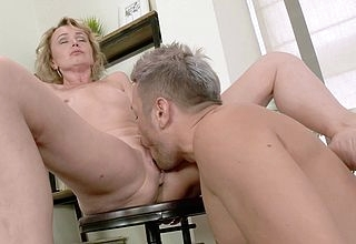 Sexy mom sucks young guys cock together with gets fucked constant