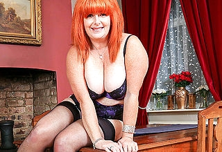 Curvy red cougar marauding and playing alone