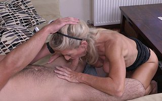 Hot and horny hosewif fucking and sucking her ass off