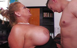 Busty German Miss Lonelyhearts blows and fucks her young aspirant by way of bustle interviewg