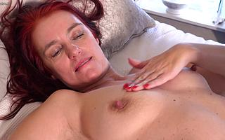 Naughty redhead mom playing with say no to shaved pussy