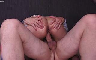 This mature sluts takes two cocks at once