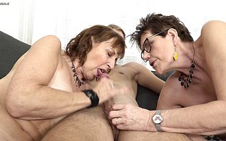 Two naughty mature sluts share one indestructible younger load of shit in an obstacle sky an obstacle vis�vis