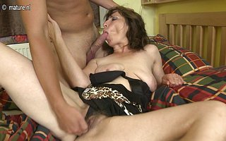 Hairy housewife fucking her toy boy