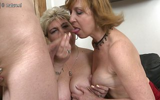 One lucky guy having funwith yoke mature sluts