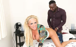 Kinky blonde Milf get fucked in the ass by the brush black boyfriend