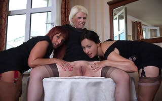 Three horny mature ladies acquiring muddy surpassing the couch