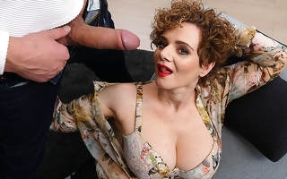 Hot mature MErce loves a throbbing everlasting flannel in the brush mouth pussy and between the brush tits