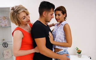 Hot babe sharing her boyfriend with her aunt