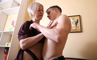 Horny mature young gentleman having divertissement with her toy houseservant