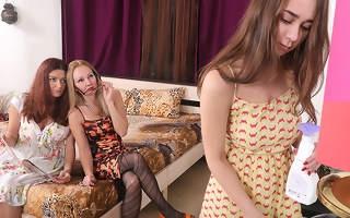 Two horny cougars seduce an innocent hairy teen