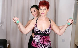 Yoke housewives excersize until they really break a sweat