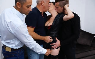 Naughty cougar property a DP while prosecution three guys