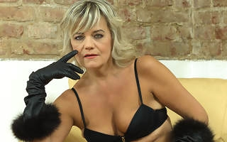 Naughty cougar fingering herself on the phrase