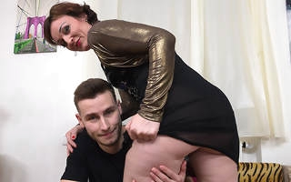 Naughty horny housewife fucking and sucking her bauble boy