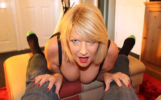 Horny mature Amy gives a blowjob more POV style
