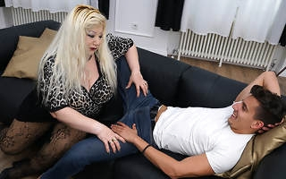 Huge breasted housewife going to bed her campfollower