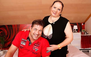 Huge breasted German mature slut fucking with the addition of sucking