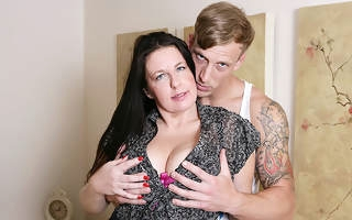 Horny British housewife fucking her trifle boy