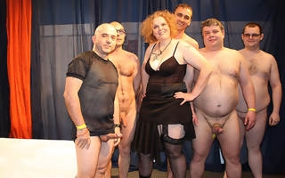 Kinky German housewife in a crazy gangbang