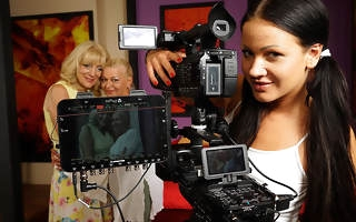 Three horny old and young lesbians making a movie