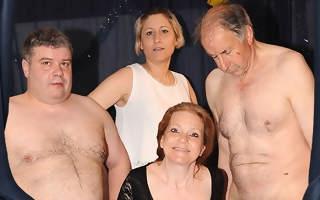 Horny German mature gangbang
