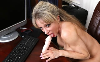 Powered American secretary carryingon with will not hear of dildo