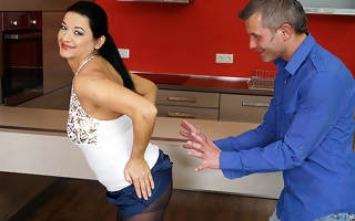 Hot housewife fucking here the kitchen