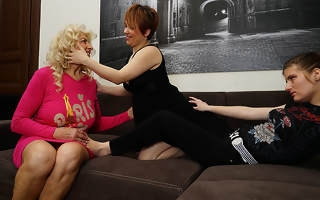 Three horny old coupled with young lesbians make out on the couch